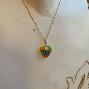 Small and Colorful Glass Heart Pendent